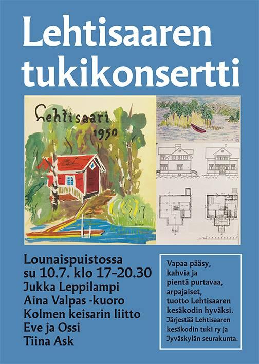 Lehtisaaren kesäkodin tukikonsertti Jyväskylän Lounaispuistossa sunnuntaina