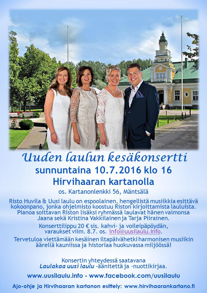 Uuden laulun kesäkonsertti Hirvihaaran kartanolla 10.7.2016